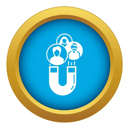 Magnet client retention icon blue vector isolated on white background for any design