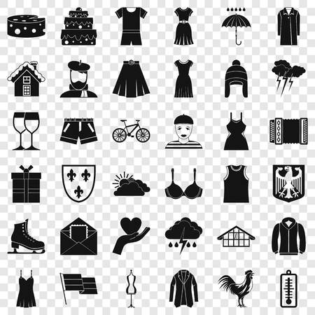 Season clothes icons set, simple style