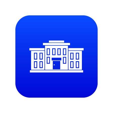 School building icon digital blue