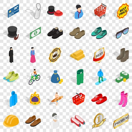Clothes icons set, isometric style Vettoriali