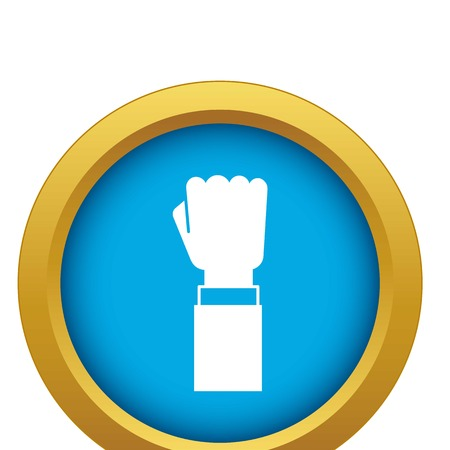 Fist up demonstration icon blue vector isolated