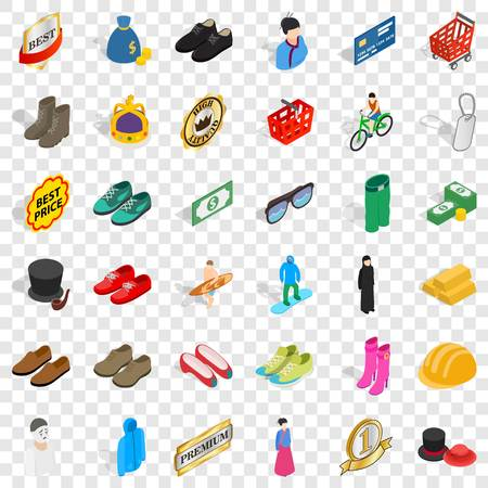 Stylish clothes icons set, isometric style