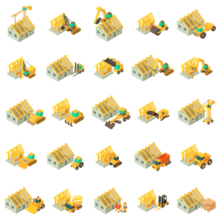 Building house icons set. Isometric set of 25 building house vector icons for web isolated on white background Stock Illustratie