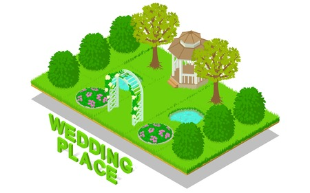 Wedding place concept banner. Isometric banner of wedding place vector concept for web, giftcard and postcard