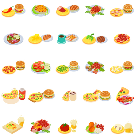 Fast food icons set. Isometric set of 25 fast food vector icons for web isolated on white background