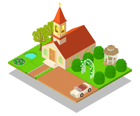 Church ritual concept banner. Isometric banner of church ritual vector concept for web, giftcard and postcard