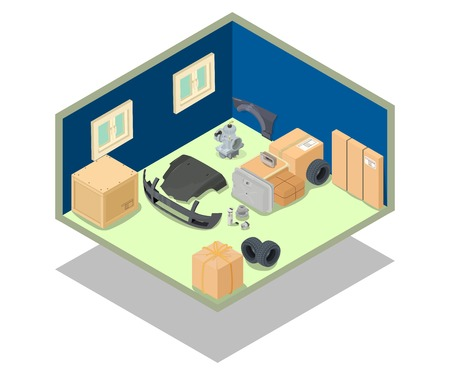 Storage area concept banner. Isometric banner of storage area vector concept for web, giftcard and postcard