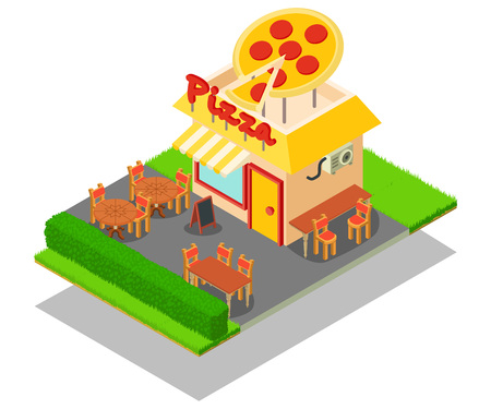 Pizza place concept banner. Isometric banner of pizza place vector concept for web, giftcard and postcard Illustration