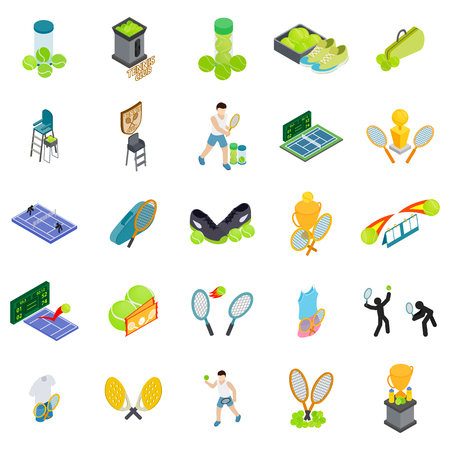 Tennis club icons set. Isometric set of 25 tennis club vector icons for web isolated on white background