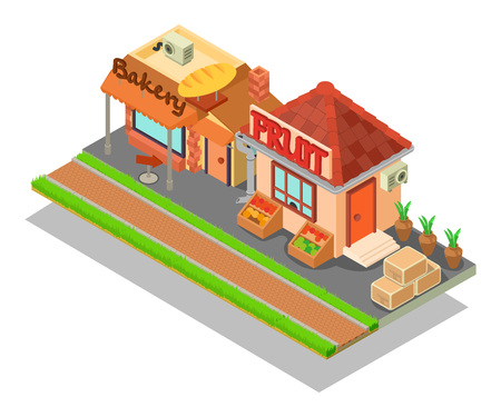 Food street concept banner. Isometric banner of food street vector concept for web, giftcard and postcard Vektoros illusztráció