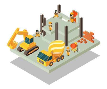 Building concept banner. Isometric banner of building vector concept for web, giftcard and postcard