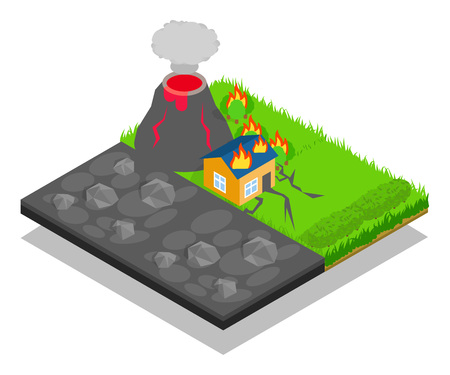 Natural disaster concept banner, isometric style Stock Illustratie