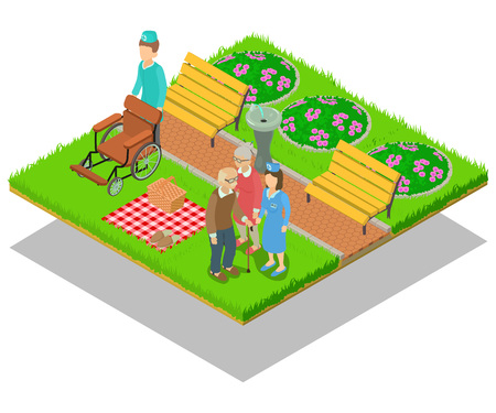 Nursing home concept banner. Isometric banner of nursing home vector concept for web, giftcard and postcard