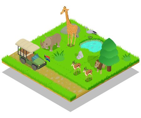 Safari concept banner. Isometric banner of safari vector concept for web, giftcard and postcard