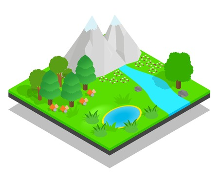 Clean forest concept banner. Isometric banner of clean forest vector concept for web, giftcard and postcard Stock Illustratie