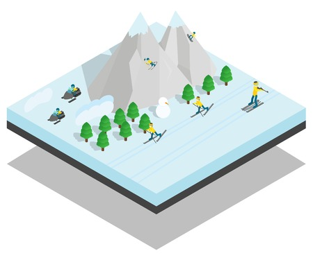 Mountain sport concept banner. Isometric banner of mountain sport vector concept for web, giftcard and postcard