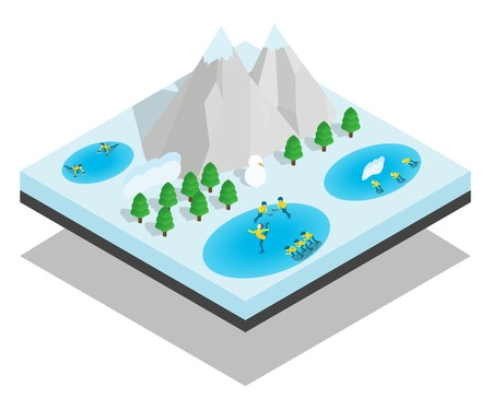 Wintersport concept banner. Isometric banner of wintersport vector concept for web, giftcard and postcard