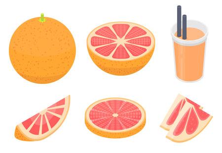 Grapefruit icons set. Isometric set of grapefruit vector icons for web design isolated on white background Vector Illustratie