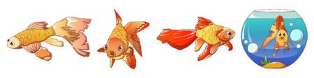 Conjunto de iconos de peces de colores. Conjunto de dibujos animados de iconos de vector de peces de colores para diseño web