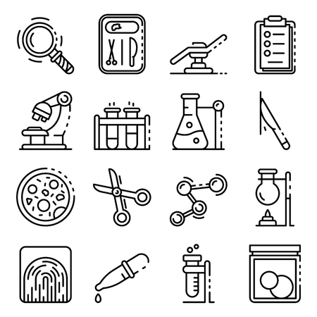 Forensic laboratory icons set. Outline set of forensic laboratory vector icons for web design isolated on white background Vectores