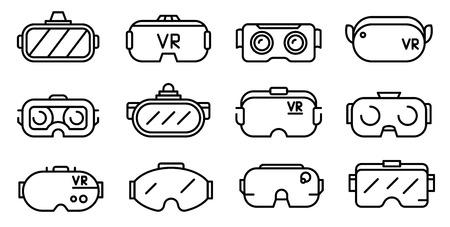 Spielbrillen-Symbole gesetzt. Umreißen Sie einen Satz von Spielbrillen-Vektorsymbolen für das Webdesign, die auf weißem Hintergrund isoliert sind