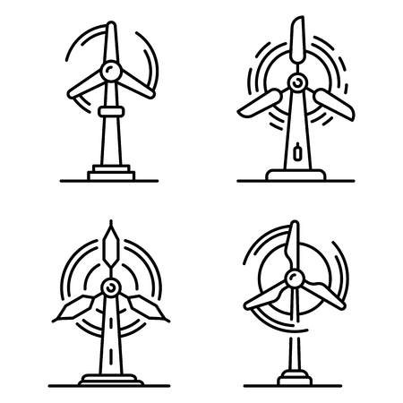 Wind turbine icons set. Outline set of wind turbine vector icons for web design isolated on white background