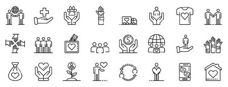 Volunteering icons set. Outline set of volunteering vector icons for web design isolated on white background Ilustração