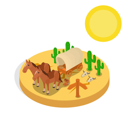 Wild west concept banner. Isometric banner of wild west vector concept for web, giftcard and postcard