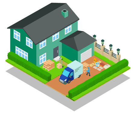 Relocation concept banner. Isometric banner of relocation vector concept for web, giftcard and postcard