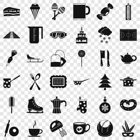 Set di icone di caffè. Stile semplice di 36 icone vettoriali caffè per il web per qualsiasi design