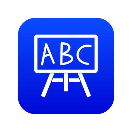 Chalkboard with the leters ABC icon digital blue for any design isolated on white vector illustration