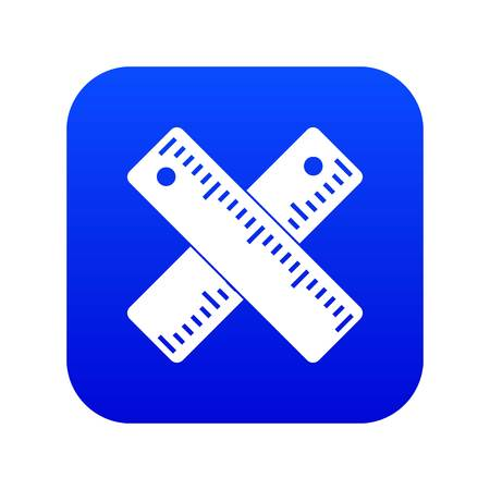 Two crossed rulers icon digital blue for any design isolated on white vector illustration