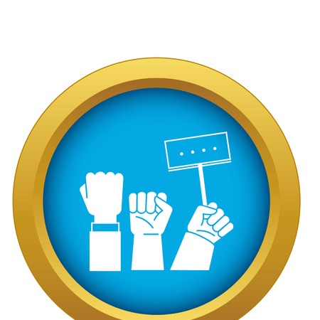 Banner hand up icon blue vector isolated on white background for any design