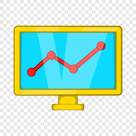 Statistics on monitor icon in cartoon style isolated on background for any web design Illustration