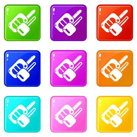 Auto key icons set 9 color collection isolated on white for any design Illustration
