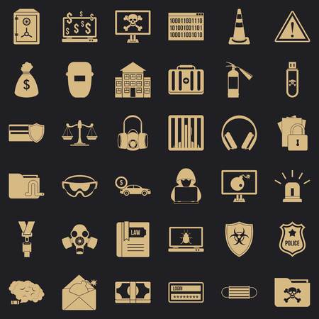 Computer crime icons set. Simple style of 36 computer crime vector icons for web for any design Illustration