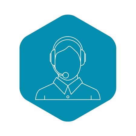 Man with a headset icon. Outline illustration of man with a headset vector icon for web Illustration