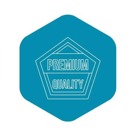 Premium quality pentagon label icon. Outline illustration of premium quality pentagon label vector icon for web