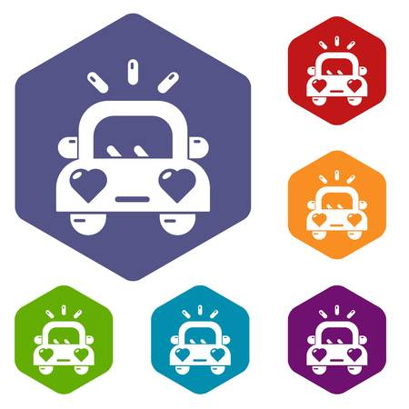 Wedding car icons vector colorful hexahedron set collection isolated on white
