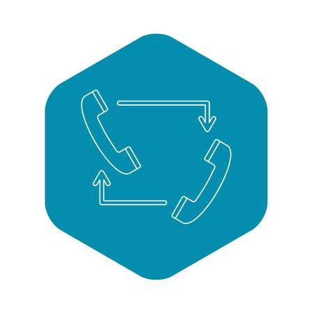 Handsets with arrows icon. Outline illustration of handsets with arrows vector icon for web