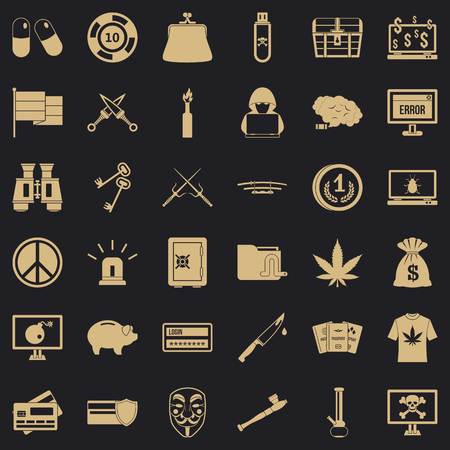 Criminal money icons set, simple style