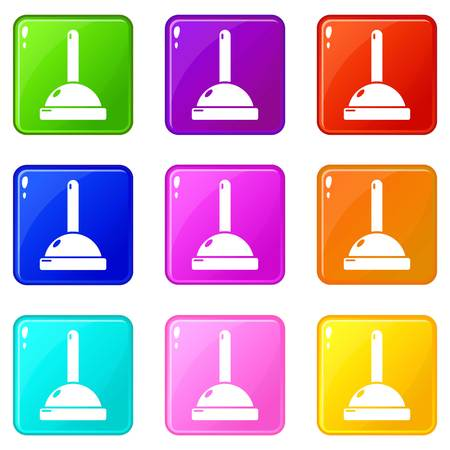Plunger icons set 9 color collection isolated on white for any design