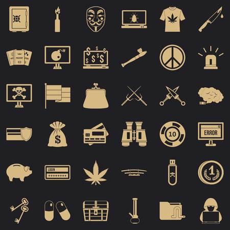 Criminal virus icons set, simple style