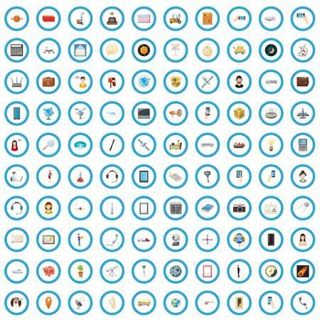 100 global warming icons set, cartoon style Illustration