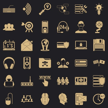 Cyber protection icons set, simple style Illustration