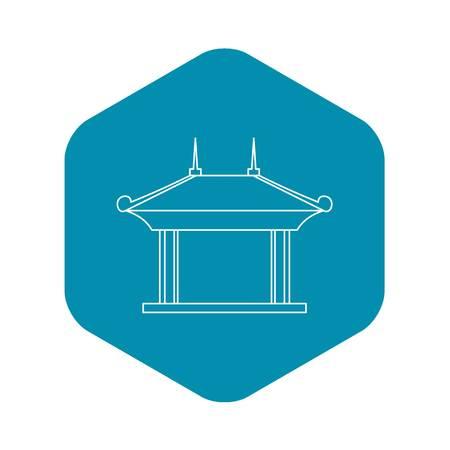 Icône du pavillon de la pagode. Illustration de contour de l'icône de vecteur de pavillon de pagode pour le web