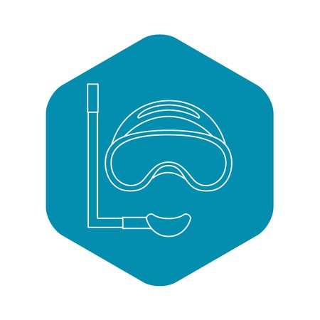 Scuba mask and snorkel icon. Outline illustration of scuba mask and snorkel vector icon for web