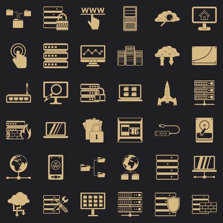 Data icons set, simple style
