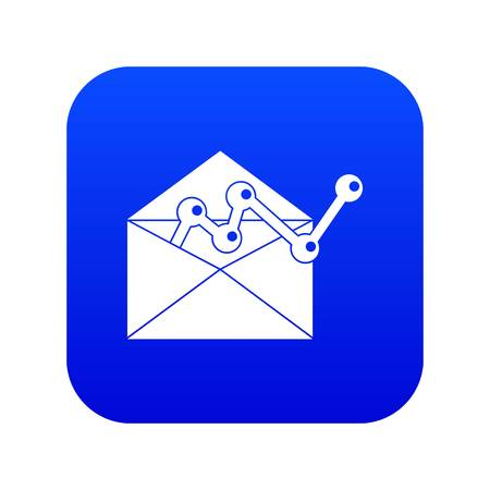 Envellope with graph icon digital blue for any design isolated on white vector illustration