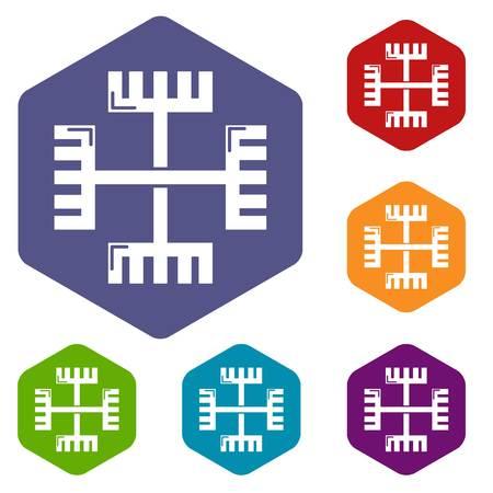 Icônes de symbole antique païen vecteur hexaèdre